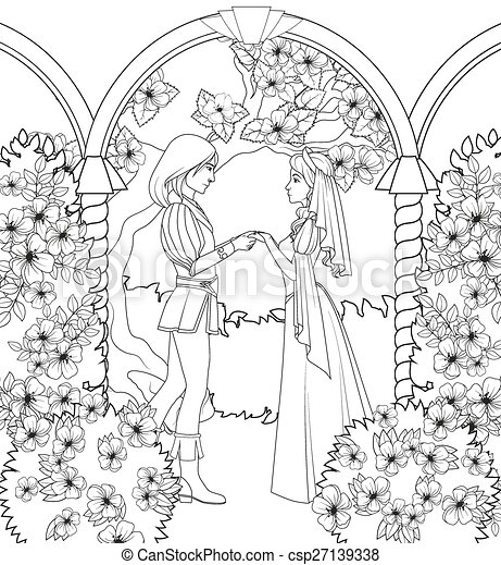 Coloring book: medieval couple holding hands vectors - Search Clip ...