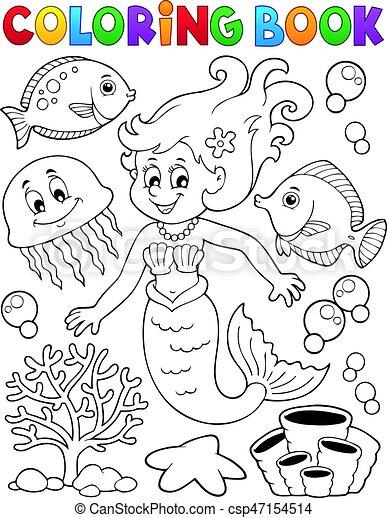 Coloring book mermaid topic 2 - csp47154514