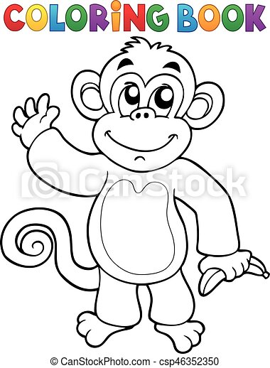 Coloring book monkey theme 3 - eps10 vector illustration. clipart ...