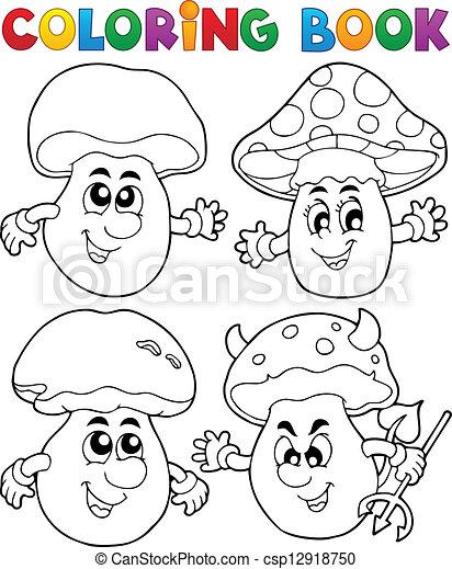 Coloring book mushroom theme 1 - csp12918750