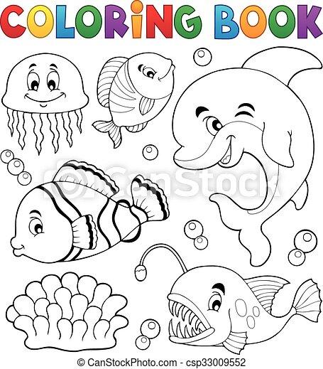 Coloring book ocean fauna topic 1 - csp33009552