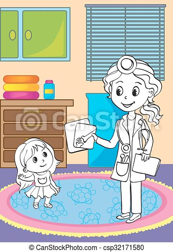 Coloring Book Of Doctor Showing X-ray Pictures - csp32171580