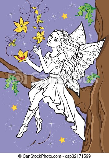 Coloring Book Of Fairy Elf Sitting On Branch - csp32171599