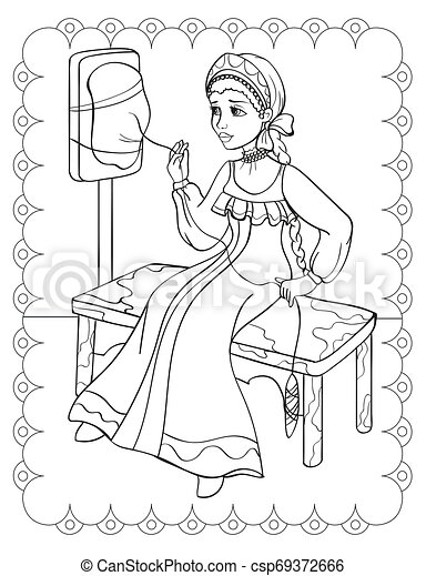 Coloring Book Of Fairy Tale Girl Spins Yarn