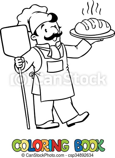 Coloring book of funny cook or baker with bread . Coloring picture ...