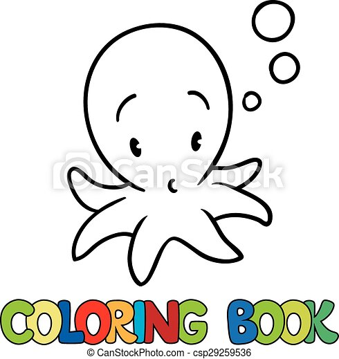 Coloring book of funny octopus. Coloring book or coloring... vectors ...