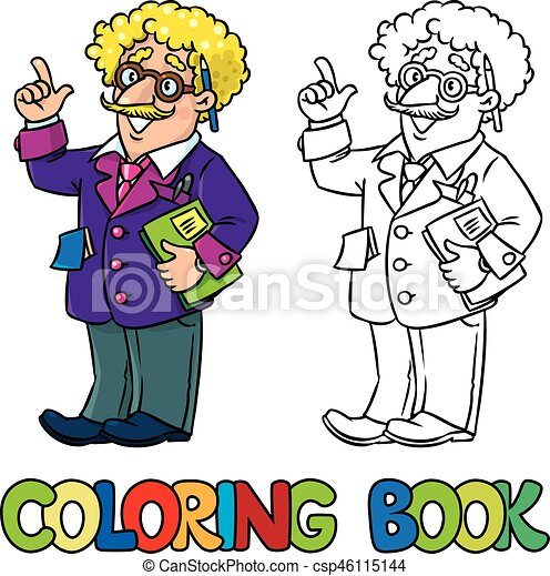 coloring book of funny scientist or inventor a man in glasses and suit with books folders microscope and telescope raised https www canstockphoto com coloring book of funny scientist or 46115144 html