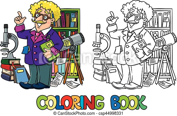 coloring book of funny scientist or inventor a man in glasses and suit with books folders microscope and telescope raised https www canstockphoto com coloring book of funny scientist or 44998331 html