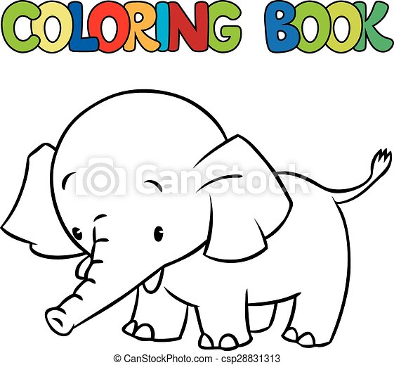 Vector Clip Art Of Coloring Book Of Little Funny Elephant Or Jumbo