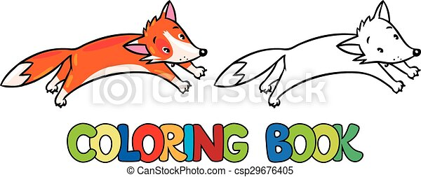 coloring book of little funny jumping fox csp29676405 - Fox Coloring Book
