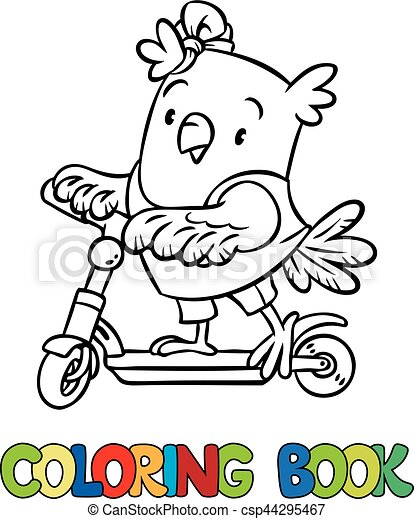 Coloring book of little funny owl on the scooter