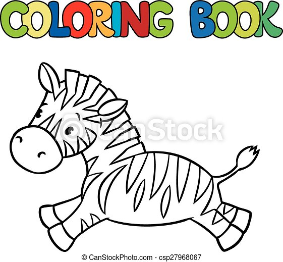 Coloring book of little zebra. Coloring book or coloring... clip art ...