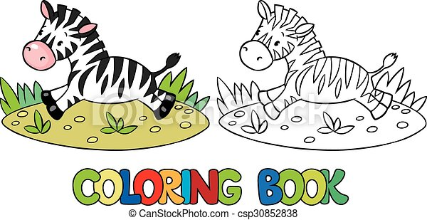 Coloring book of little zebra. Coloring book or coloring picture of ...
