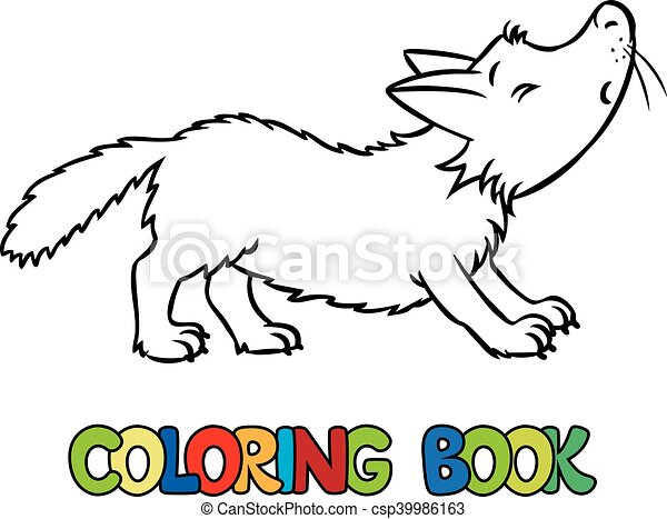 Coloring book of lttle funny wolf. Coloring book or coloring picture ...