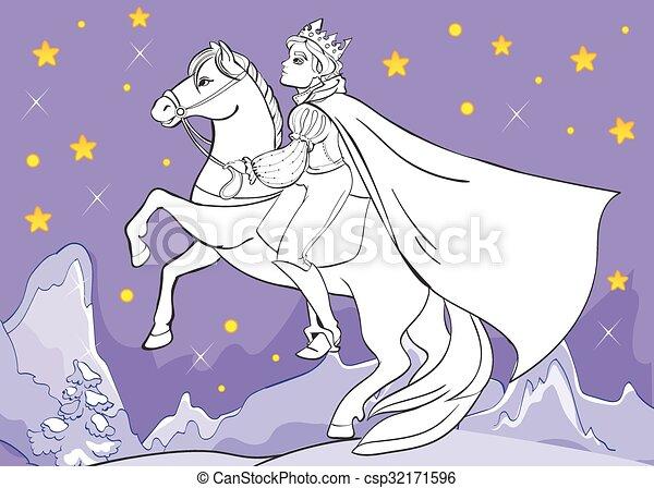 Coloring Book Of Prince Rides Horse At Night - csp32171596