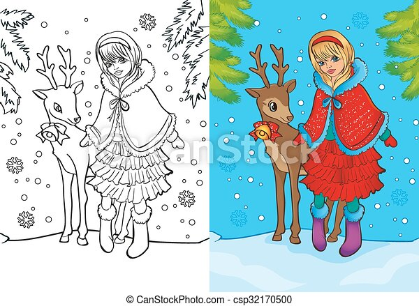 Coloring book of santa girl stands with deer. Vector illustration of ...