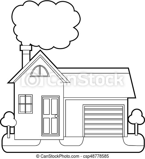 Coloring book outlined house with chimney smoke.