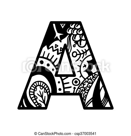 Coloring Book Page Alphabet Letter A Vector. Coloring Book Page Hand-drawn.  For Shirt Design, Tattoo, Decoration. Doodle, CanStock