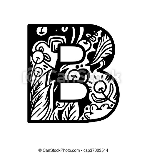 Coloring Book Page Alphabet Letter B Vector Hand Drawn For Shirt Design Tattoo Decoration Doodle Zentangle Monochrome Style Anti