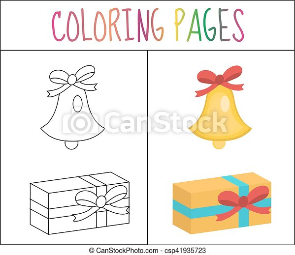 Coloring Book Page Christmas Bell Gift Sketch And Color Version For Kids