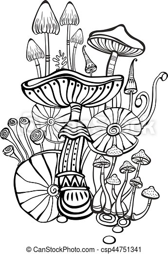 Coloring book page for adult with mushrooms - csp44751341
