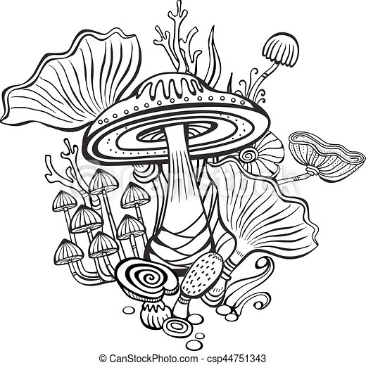 coloring book page for adult with mushrooms vector - Color Book Page