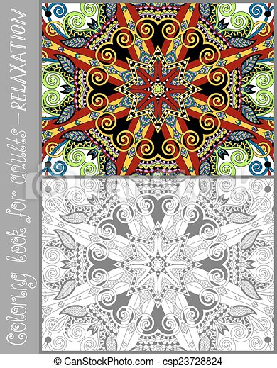 coloring book page for adults - flower paisley design - csp23728824