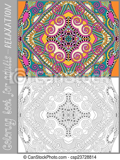 Unique coloring book page for adults - flower paisley... vector ...