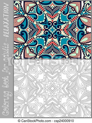 coloring book page for adults - flower paisley design - csp24000910