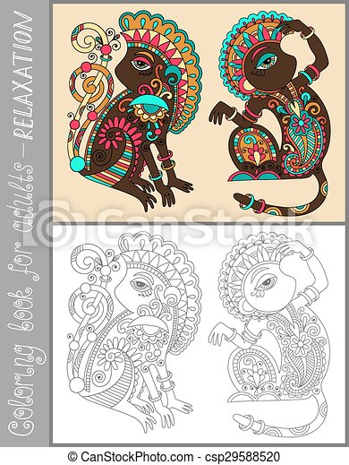 coloring book page for adults with unusual fantastic creature - csp29588520