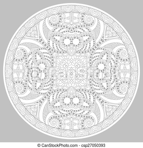 coloring book page for adults - zendala - csp27050393