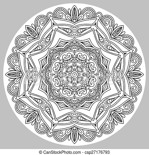 coloring book page for adults - zendala - csp27176793