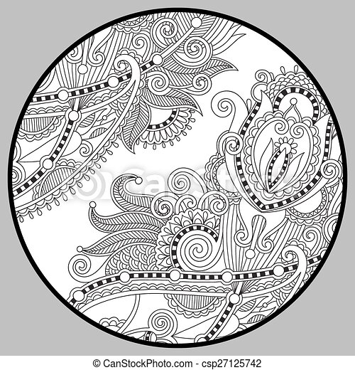 coloring book page for adults - zendala - csp27125742