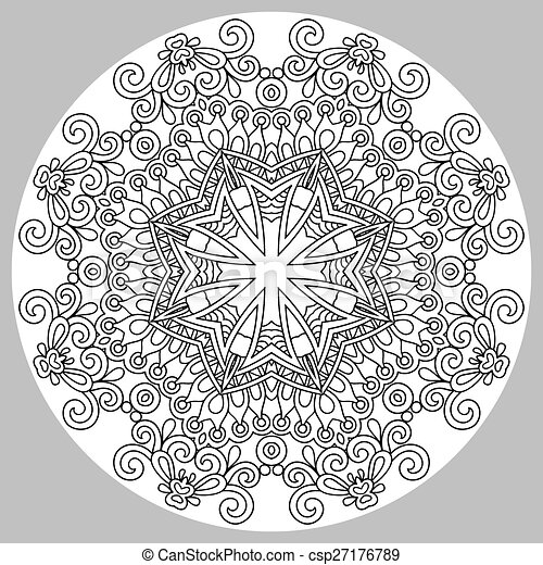 coloring book page for adults - zendala - csp27176789