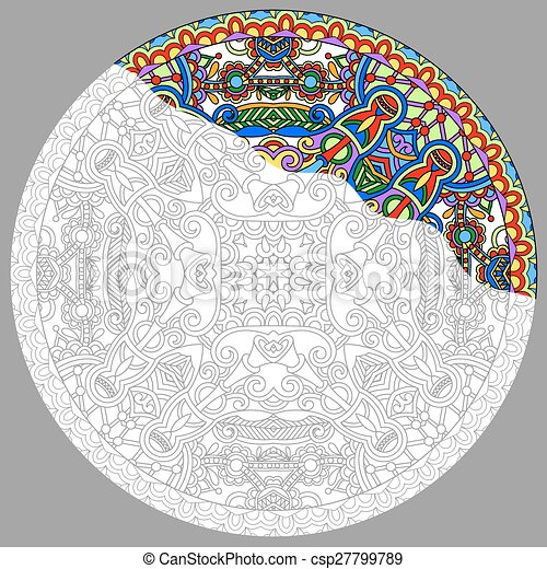 coloring book page for adults - zendala - csp27799789