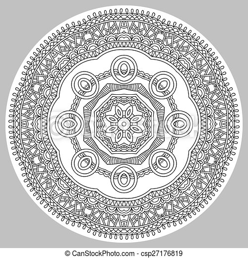 coloring book page for adults - zendala - csp27176819