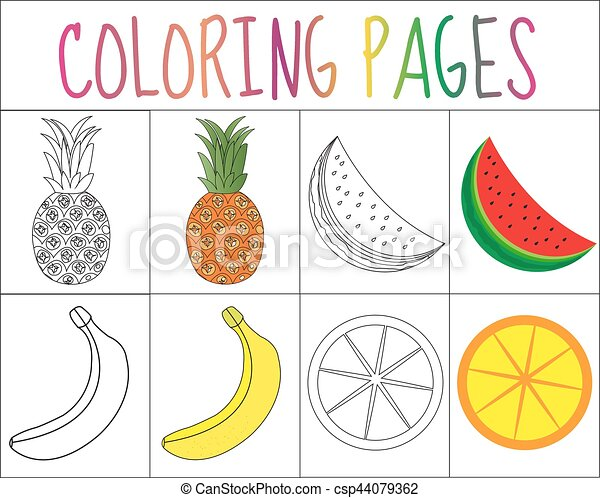 Coloring Book Page Set Fruits Collection Sketch And Color Version For Kids