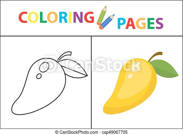Coloring Book Page. Sketch Outline And Color Version. Coloring For Kids.  Childrens Education. Vector Illustration. Coloring CanStock