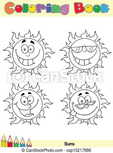 Coloring Book Page Sun Character 1 - csp15217886