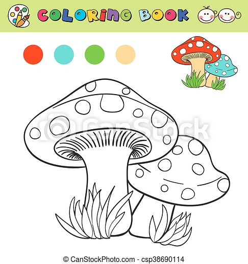 Coloring Book Page Template With Mushrooms In Grass Color Samples Vector Illustraton