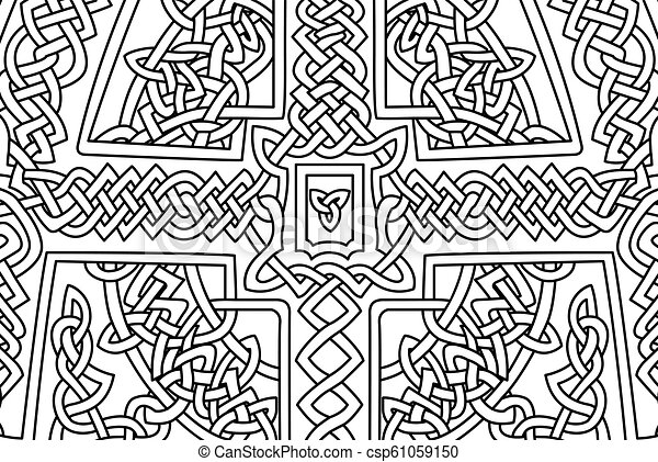 Coloring book page with abstract celtic art