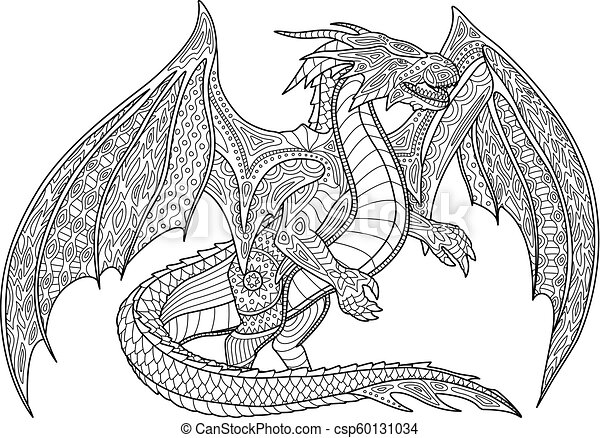Coloring Book Page With Dragon On White Background Adult Coloring Book Page With Beautiful Dragon On White Background