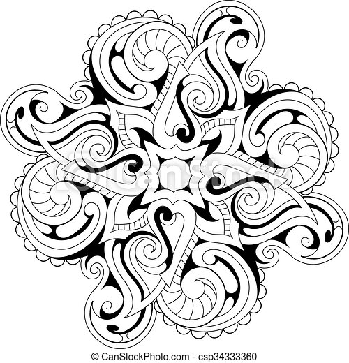 Coloring book page with ethnic ornaments - csp34333360