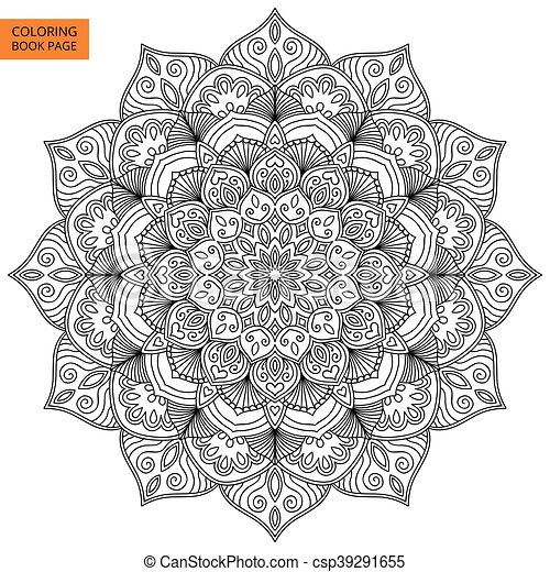 Coloring Book Page With Flower Mand Coloring Book Page