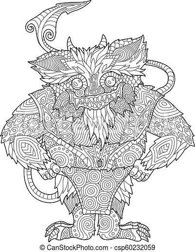 Coloring book page with funny cartoon monster - csp60232059