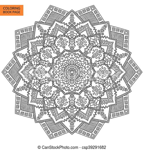 Coloring Book Page With Mandala Outline Line Isolated On White Background For Intricate Design Vector