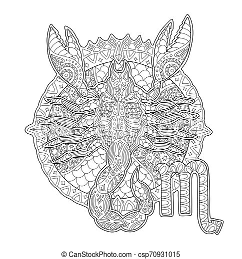 Coloring Book Page With Scorpion And Zodiac Sign. Beautiful Adult Coloring  Book Page With Scorpion Silhouette And Zodiac Sign CanStock