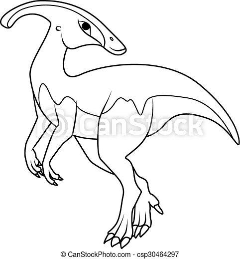 Coloring Book Parasaurolophus Dinosaur Eps Vectors