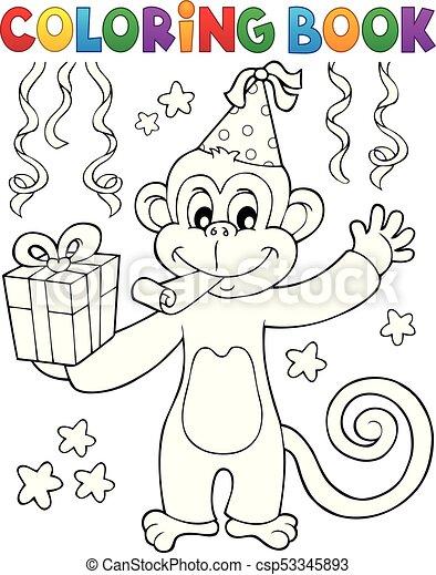 Coloring book party monkey theme 1 - eps10 vector... eps vectors ...
