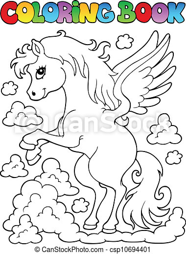 Coloring book pegasus theme 1 - csp10694401